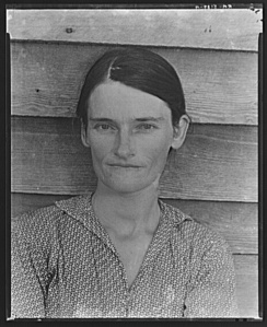 Walker Evans, Allie Mae Burroughs, wife of cotton sharecropper. Hale County, Alabama. Library of Congress, Prints & Photographs Division, FSA/OWI Collection, [LC-USF342-T01-008139-A]