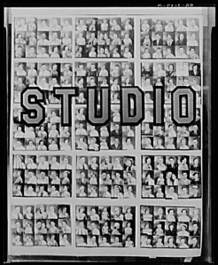 Walker Evans, Photographer's window of penny portraits. Birmingham, Alabama. Library of Congress, Prints & Photographs Division, FSA/OWI Collection [LC-USF342-T01-008097-A DLC]