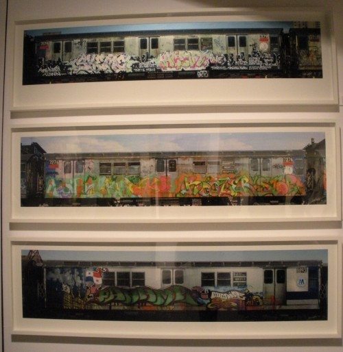 Top: Henry Chalfant, Skeme Agent, 1982, Kodak Professional Endura metallic paper, printed 2013 Middle: Henry Chalfant, Tkid Boozer Stop, 1983, Kodak Professional Endura metallic paper, printed 2013 Bottom: Henry Chalfant, Panama Cocaine by Kid Panama, 1980, Kodak Professional Endura metallic paper, printed 2013