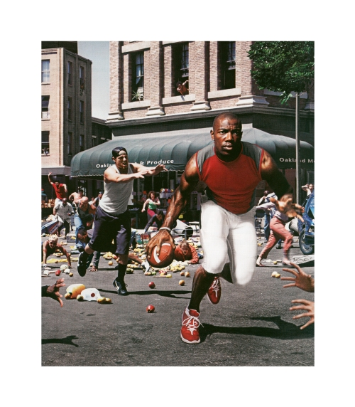 Hank Willis Thomas, The Liberation of T.O.: I'm Not Goin' Back to Work for Massa' in Dat Darned Field!, Unbranded series, 2003/2005. Lambda photograph, original photograph by Charlie White, 57 x 50""