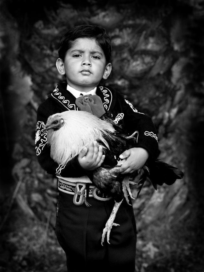 "Rodolfo con gallo, Mi Sangre series, 2004/2010 Archival pigment print on Canson Infinity paper, 14 x 11""   Limited edition of 20  Price: $300 (market value of Rojelio's work: $600–$1,000)"